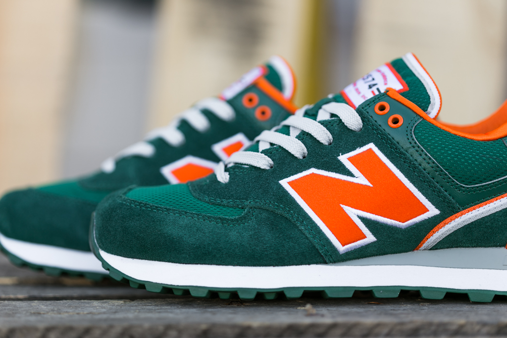 new balance 574 orange green