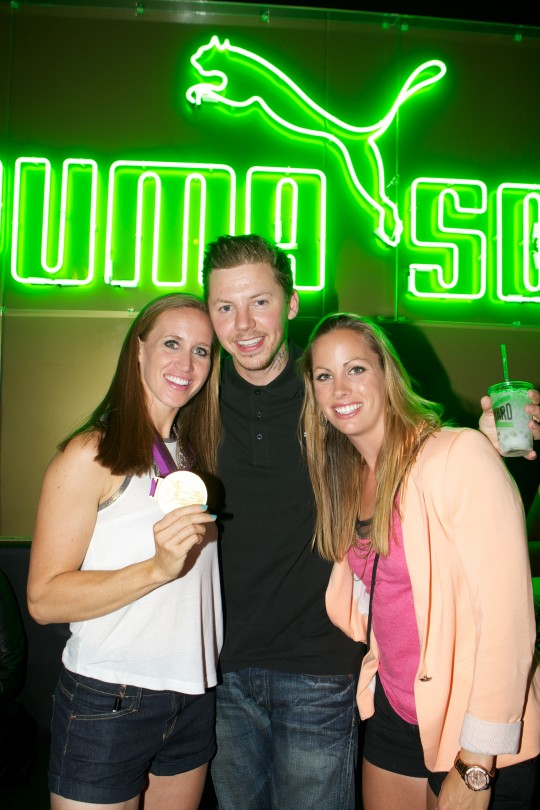 Professor Green with Helen Glover and Jo Cook at Puma Yard, Brick Lane