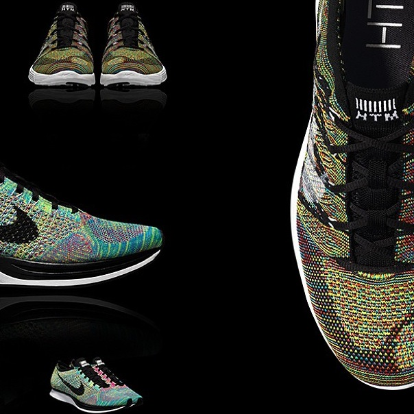 Nike just announced today the release of their new Flyknit racer and latest  the HTM Flyknit Trainer+ series in a new multi-colorway.
