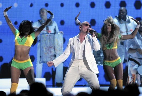 Pitbull performs at the start of the 2014 Billboard Music Awards in Las Vegas