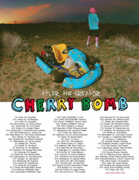 """b2a48339306a Tyler The Creator announces the full list of dates for The """"Cherry Bomb Tour.""""  coming to a city near you."""