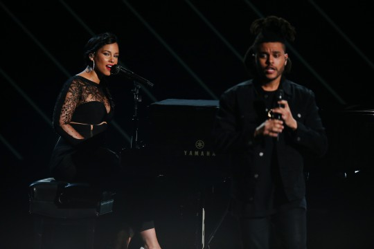 LOS ANGELES, CA - JUNE 28:  Recording artists Alicia Keys (L) and The Weeknd perform onstage during the 2015 BET Awards at the Microsoft Theater on June 28, 2015 in Los Angeles, California.  (Photo by Mark Davis/BET/Getty Images for BET)